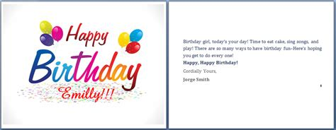 word birthday card template birthday card word template gangcraft net