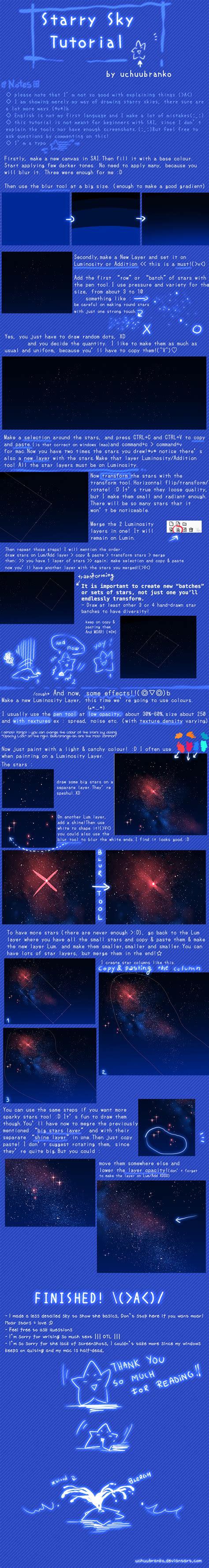 paint tool sai sky tutorial sai starry sky tutorial by uchuubranko on deviantart