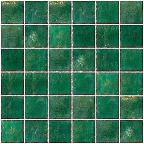 Glass Tile   2x2 Inch Teal Green Iridescent Glass Tile