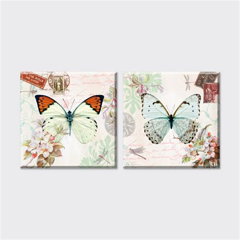 cheap art prints 2 piece 2015 new cheap flowers and butterfly canvas art