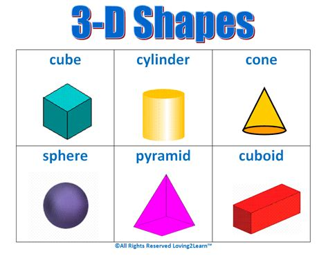 printable math shapes charts 3 d shapes