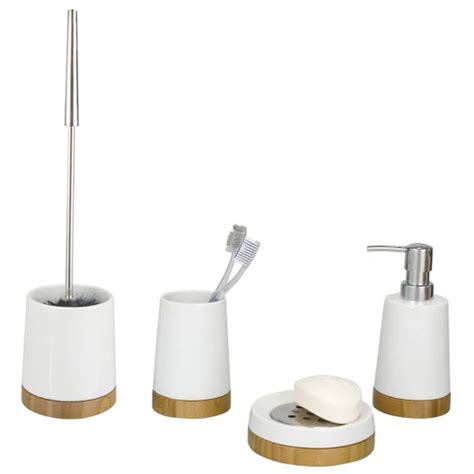 ceramic bathroom accessories sets wenko bamboo ceramic bathroom accessories set at victorian