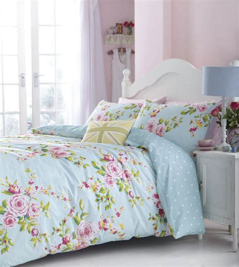 Blue Floral Duvet duck egg pink blue floral or spots reversible bedding or curtains ebay