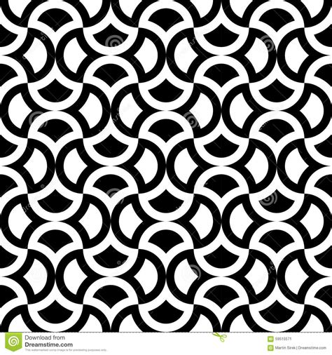 black and white round pattern vector modern seamless geometry pattern stock vector