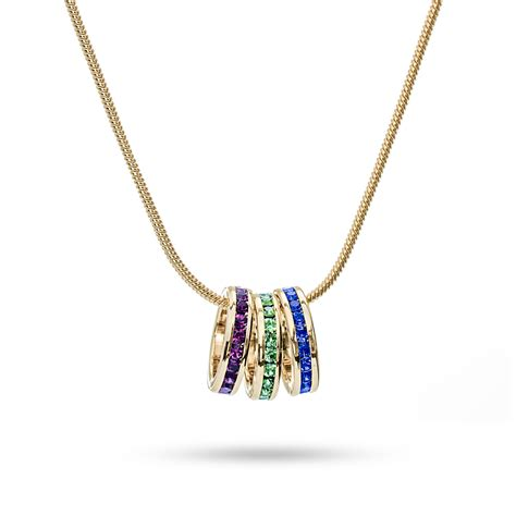 gold stackable custom birthstone eternity charm necklace