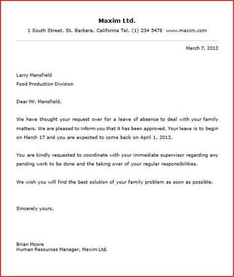 annual leave cancellation letter sle official letter sle for leave 28 images letter