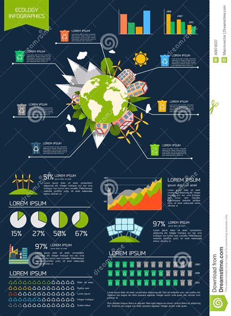 green biz trends for earth month infographic industry ecology infographic set stock vector image of mountains