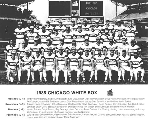 thedeadballera 1986 chicago white sox team photo
