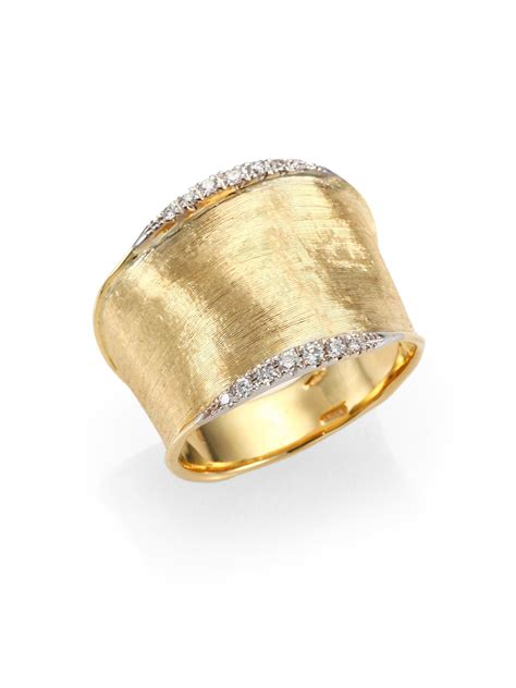 marco bicego lunaria 18k yellow gold band ring