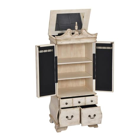 armoire jewelry home decorators collection ivory jewelry armoire 9689000440 the home depot