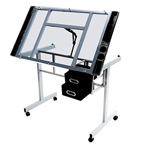 Rolling Drafting Table Yaheetech Adjustable Drafting Drawing Table Rolling Drafting Desk Tempered Glass Top
