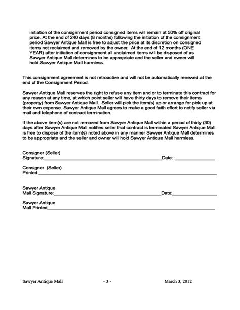 consignment store contract template blank consignment contract template free