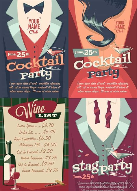 vintage cocktail posters 4 vintage cocktail poster vector vector