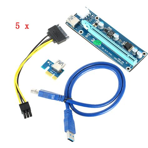 Pci Express Pcie 1x To 16x Extension Versi 006 1 5pcs pci e riser pci e express extension cable 1x 16x extender riser for bitcoin miner graphics