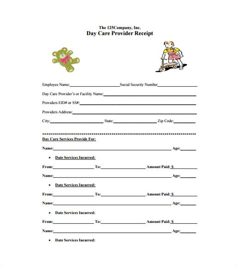 free printable daycare receipt template daycare receipt template 24 free word excel pdf
