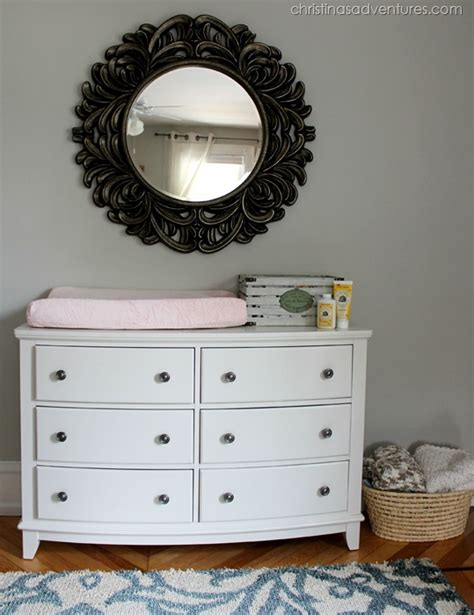using a dresser as a changing table vintage rustic nursery christinas adventures