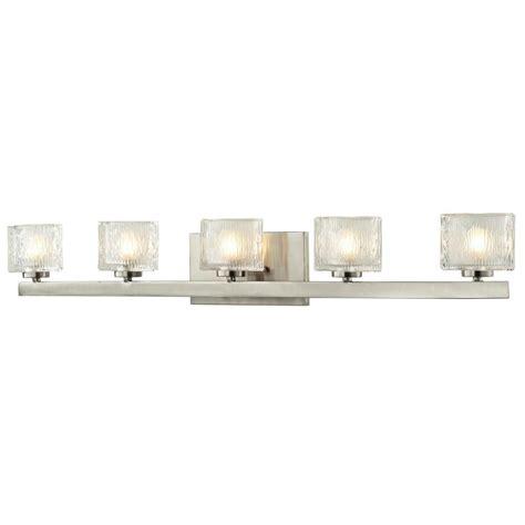 Nickel Vanity Light Filament Design Rainfall 5 Light Brushed Nickel Bath Vanity Light Cli Jb 028119 The Home Depot