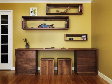 Corner Desk And Stool by Crafted Walnut Desk Shelves And Stools By Anand