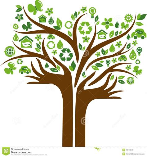 Eco Energy Concept Icons Tree With Two Hands Stock Vector Illustration Of Energy Lightbulb Green Eco Tree Vector Free