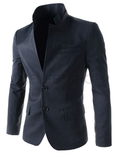ndj24 navy mens slim fit two tone patch china collar chest pocket 2 button blazer mens