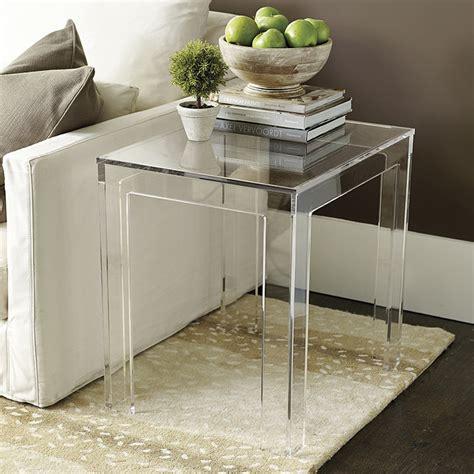 clear acrylic side table felicity acrylic rectangular side table ballard designs