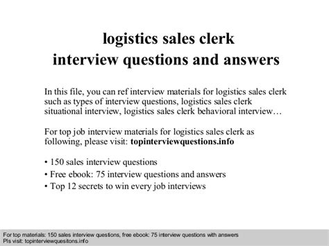 logistics sales clerk questions and answers