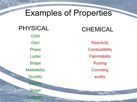 is color a physical or chemical property chemical and physical properties of matter ppt