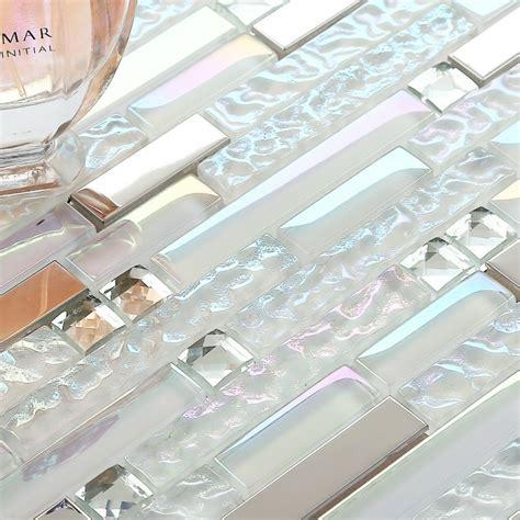 Silver Stainless Steel Tile Iridescent White Glass Mosaic Iridescent Glass Tile Backsplash