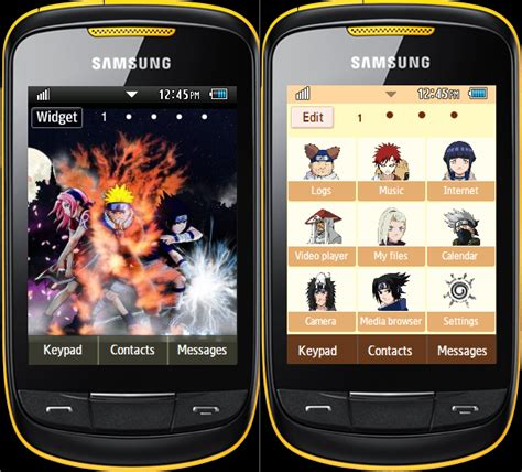 themes naruto for samsung samsung corby 2 themes by abi naruto theme