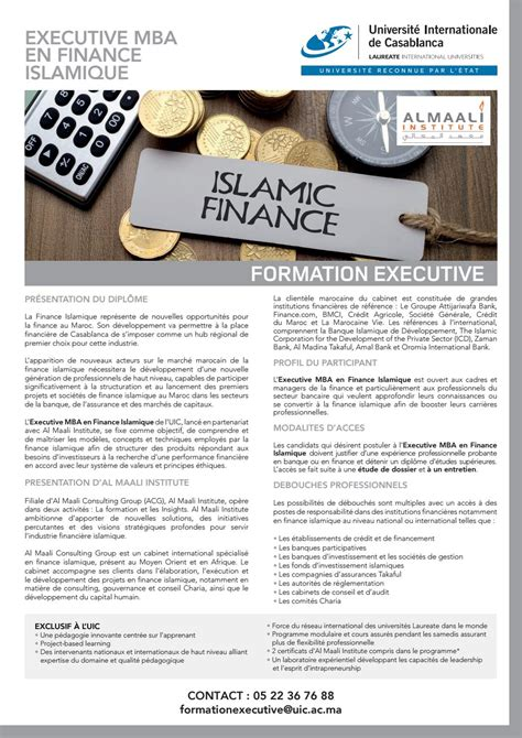 Mba Finance Overseas by Exe Fiche Executive Mba Finance Islamique Sans Rep 232 Re By