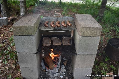 cinder block grill   remote cabin rural lifestyle