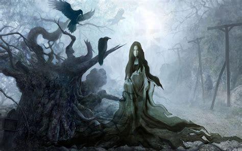 imagenes de fantasia wallpaper bruja cuervos bosque magia fantasia wallpaper 1920x1200