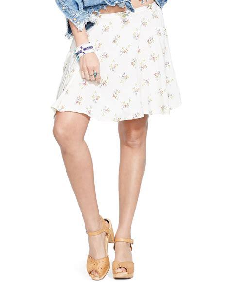 18465 white flower denim skirt denim supply ralph floral print a line mini skirt