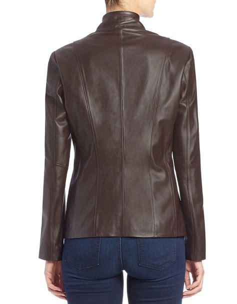 cole haan brown leather jacket cole haan lambskin leather jacket in brown lyst