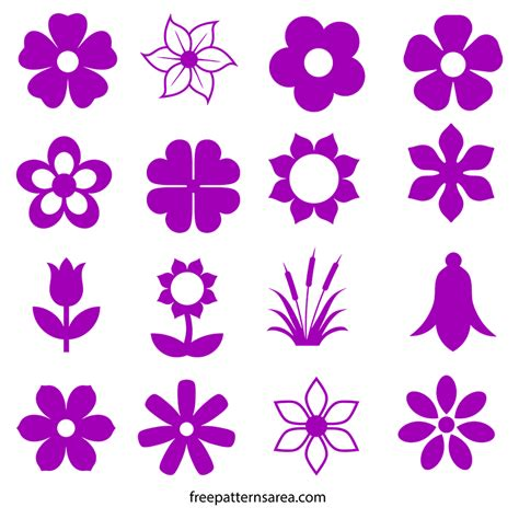 flower pattern vector graphics flower silhouette vector icons and outline templates