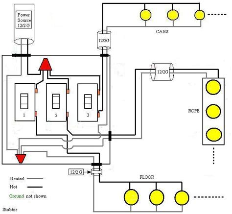 wiring diagram for 3 light switches fluorescent light