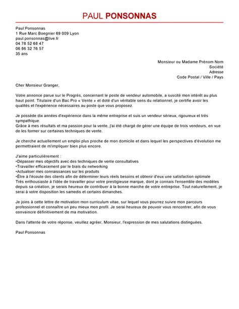 Vendeur Automobile Lettre De Motivation Exemple De Cv Vendeur Automobile Lettre De Motivation 2017