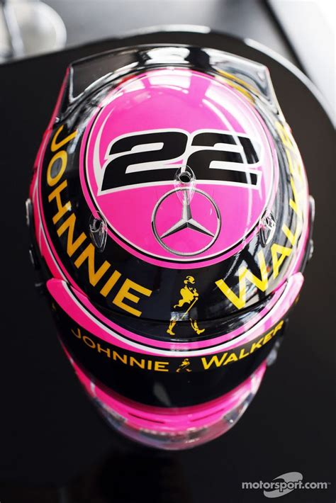 f1 helmet design rules a special pink helmet for jenson button mclaren in