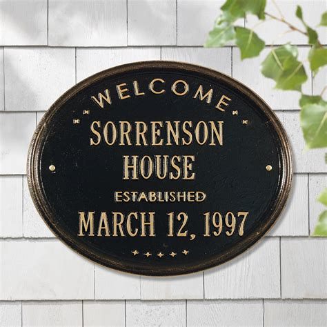 house plaques whitehall products 1390 personalized welcome oval quot house quot established address plaque