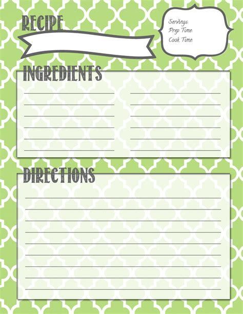 recipe page free printable recipe templates see best of blank