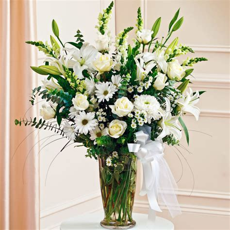 Vase Flower Arrangements by White Large Sympathy Vase Arrangement Vase Arrangements