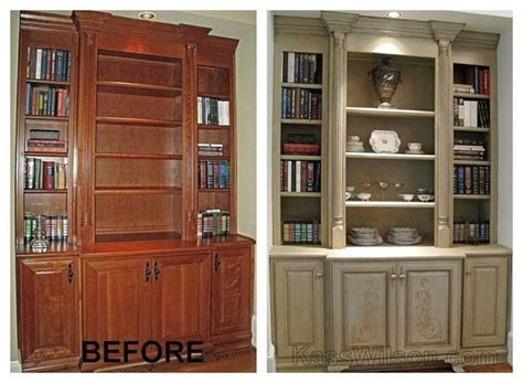 before and after painted entertainment center upstairs bookshelves color and the trim