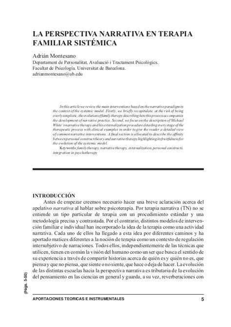 la perspectiva sistmica en terapia familiar conceptos la perspectiva narrativa en terapia familiar sistemica