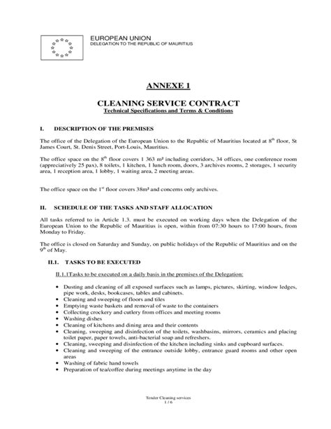 template of union cleaning service contract european union free