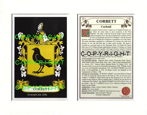 the origin of the family property and the state books corbett family coat of arms crest history available