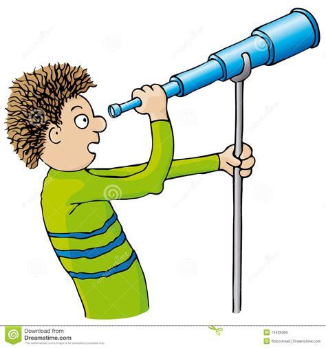 clipart bambino bambino con il telescopio illustrazione vettoriale