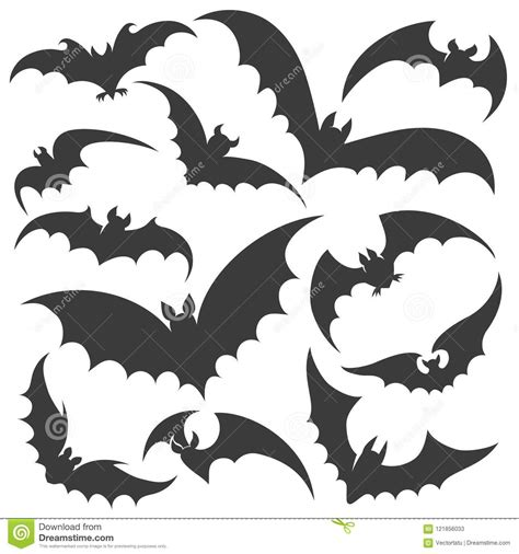 Set Bat bat silhouette set stock vector illustration of autumn
