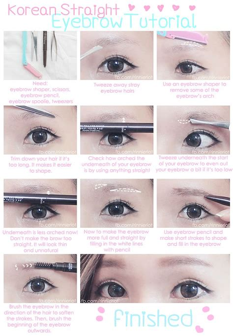 tutorial make up korea sederhana korean straight eyebrow tutorial make up pinterest