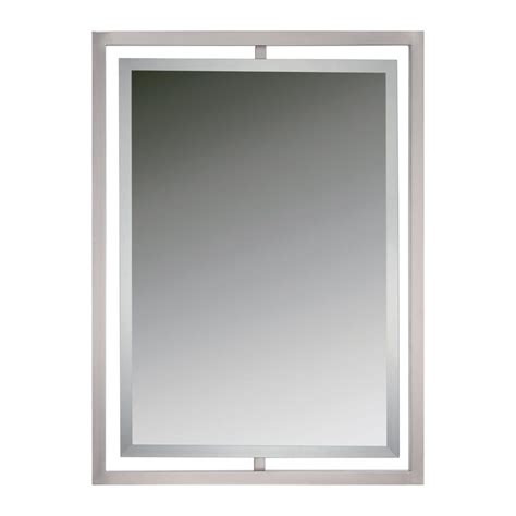 bathroom wall mirrors brushed nickel shop quoizel reflections brushed nickel beveled wall