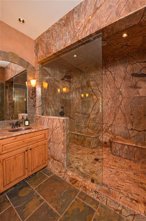 Granite Bathroom Vanity Top With Sink - steam shower rustic bathroom other metro by custom design construction